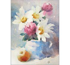 Marguerites aquarelle - peinture 8 x 11 pouces fleurs nature morte originale