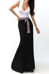 Stylish U Neck Sleeveless Color Block Dress For Women