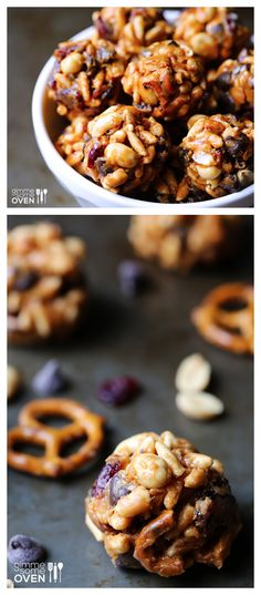 These trail mix energy bites are one of my all-time favorite snacks!  Sweet and salty and full of great protein! gimmesomeoven.com #snack #recipe #vegan