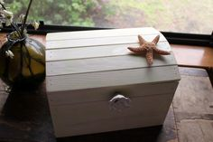 card box idea -- treasure chest with anchor-shaped knob, great for beach or nautical themed wedding!