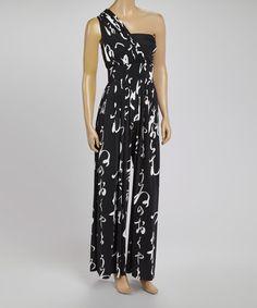 Look what I found on #zulily! Black Swirl Asymmetrical Jumpsuit by Red Fox #zulilyfinds