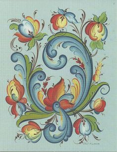 Rosemaling .... another Telemark style rosemal design. The flowers are a bit more recognizable than those in some other Telemark paintings, however. So perhaps there are elements of another rosemaling style here, too.