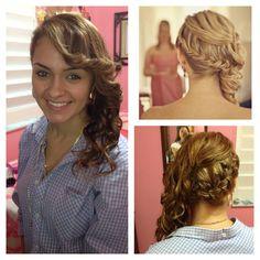 Braided side swept curls