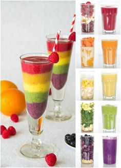 Top 10 Healthy rainbow food ideas - rainbow smoothie from Sweet and Savory by Shinee Smoothie Bowl, Smoothie King, Juice Smoothie, Smoothie Drinks, Rainbow Food, Rainbow Crafts, Taste The Rainbow, Rainbow Sweets, Kids Rainbow