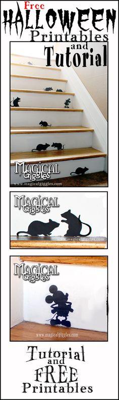 Free Halloween Printable and Tutorial! Mouse silhouette printable for Halloween.
