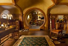 """No going upstairs for the hobbit: bedrooms, bathrooms, cellars, pantries (lots of these), wardrobes (he had whole rooms devoted to clothes), kitchens, dining rooms, all were on the same floor, and indeed on the same passage."""""""