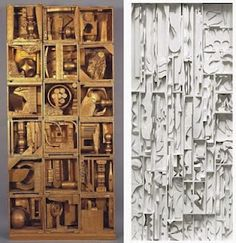 Louise Nevelson - Abstract Expressionist Artist - September 1899 – April 1988 (Bio) Recycling before it was chic. Nevelson is. Louise Nevelson, Expressionist Artists, Found Object Art, Assemblage Art, Wood Sculpture, Sculpture Ideas, Recycled Art, Art Plastique, Kandinsky