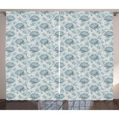 Floral Curtains 2 Panels Set, Shabby Chic Vintage Style Flowers Feminine Romantic Pastel Toned Artsy Pattern, Window Drapes for Living Room Bedroom, 108W X 84L Inches, Baby Blue Grey, by Ambesonne #shabbyvintage