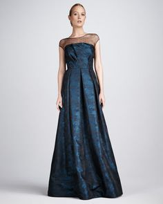 Mother of the Bride/Groom dresses  Jacquard Illusion Gown by David Meister Signature at Neiman Marcus.