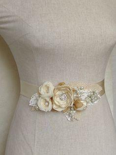 Bridal sash Wedding dress belt Narrow waist by NatachaFontanel