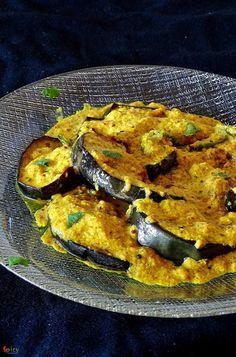 Cooking Step: Begun Basanti / Eggplant in Mustard sauce Veg Recipes Of India, Healthy Indian Recipes, Eggplant Dishes, Eggplant Recipes, Fried Fish Recipes, Veggie Recipes, Easy Recipes, Vegetarian Cooking, Vegetarian Recipes