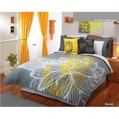 Gray and yellow - not crazy about the curtains, but the rest is fun!