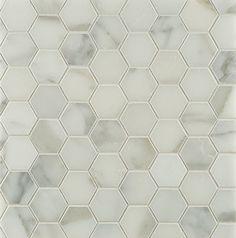Bathroom l Calacatta Borghini Hexagon Mosaic Tile - traditional - bathroom tile - other metro - by ANN SACKS
