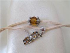 Amber Dragonfly suede Bracelet