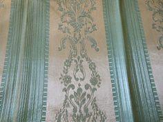 Vintage English Aqua Blue Lisere Regency Stripe Satin Fabric