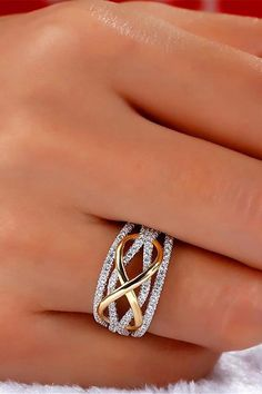 Forever Beautiful Unique Infinity Crystal Promise Fashion Ring - Beautiful Unique Infinity Crystal Ring Promise Wedding Engagement Fashion Ring for Women – bague - Diy Jewelry Rings, Diy Jewelry Unique, Diy Jewelry To Sell, Unique Rings, Beautiful Rings, Gemstone Jewelry, Fine Jewelry, Jewellery, Gold Diamond Wedding Band