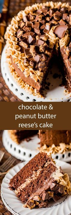 Chocolate Peanut Butter Reese's Cake is a moist, from scratch chocolate cake with peanut butter frosting and chocolate buttercream frosting! Perfect for the Reese's peanut butter cup lover in your life! This is the best chocolate cake recipe good for any