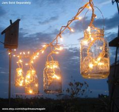 Super Cool Things To Do With Mason Jars - Fill with String Lights,. above bed