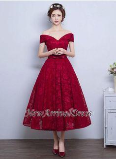 A-line Lace Vintage Burgundy Tea-Length Off-the-Shoulder Prom Dresses