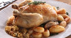 Roast Chicken with Sourdough Stuffing Roast Chicken, Greek Recipes, Dinner Recipes, Goodies, Turkey, Meat, Cooking, Food, Stuffing