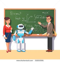 Buy Modern Robot Helping Teachers by IconicBestiary on GraphicRiver. Modern robot helping teachers in the physics class at the chalkboard with formulas. Flat style vector illustration is. Writing Characters, Fantasy Characters, Flat Design Illustration, E Mc2, Cartoon Images, Character Inspiration, Character Art, Design Inspiration, Design Ideas