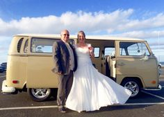 Congratulations to Steve and Margaret married at St Marys Lighthouse (St Marys Island) www.vwdeluxeweddings.co.uk Chauffeur driven VW Campervan wedding hire in Northumberland Tyne and Wear, and Durham