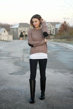 Elbow patch sweater, dark denim and camo leather earrings