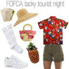 FOFCA tacky tourist night by handfulhannah on Polyvore featuring Volcom, NIKE, Miu Miu and Eric Javits