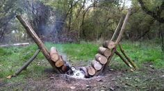 How to Build Self Feeding Fire That Lasts 14+ Hours, to keep warm around this campfire would be cool. #Camping, #Outdoor,