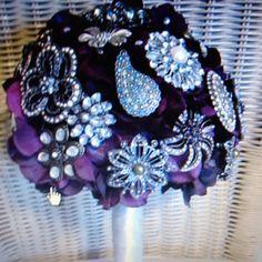 Broach bouquet with silk flowers great idea!