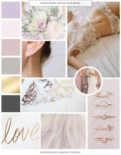 Mood board for bridal accessories creative business and female entrepreneur Natalie Lock. Inspiration for business branding and brand design. Feminine and graceful pretty color palette, lilac and champagne gold, lace and tulle material for this wedding business. Beautiful calligraphy script font.See the Wonderland Graphic Design portfolio for the brand board, brand style guide, social media branded facebook design,printed business materials and web design.