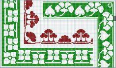 D.M.C. Point de Croix Nouveaux Dessins 3me Serie, Page 6. Art nouveau and Provençale charted cross-stitch designs. Borders and corners, green and brown, floral.