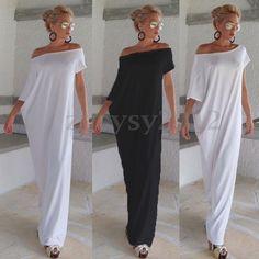 UK STOCK Women Summer Off Shoulder Batwing Casual Loose Full-length Maxi Dress