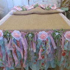 Burlap table runner shabby farmhouse chic ruffles recycled fabrics in pinks, blues, greens one of a kind anita spero