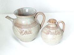 French Vintage Ceramic Water Pitcher and Pastis Jug Vallauris