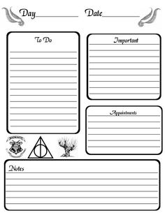 Harry Potter Planner Page