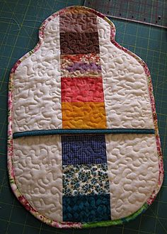 Stipple quilted hot water bottle cover tutorial | Stippling, Water ... : quilted hot water bottle cover - Adamdwight.com