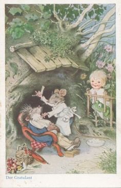 Ak-Fritz-Baumgarten-Der-Gratulant-vermenschlichte-Tiere-um-1930-460-461
