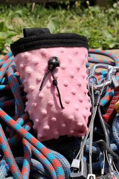 Pink Textured Polka Dot Chalk Bag, Purse, or Camera Bag from Brookside Knitwear #EtsyClimbers #Etsy #chalkbags #pink #bags #BrooksideKnitwear #GiftsForClimbers #climbing