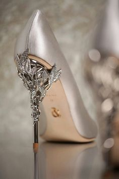 Eden Heel Pump in Silver Satin with Crystal Leaves - Ralph and Russo, AW 16/17.