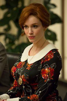 Joan's excellent floral dress. Mad Men season 7 episode 3