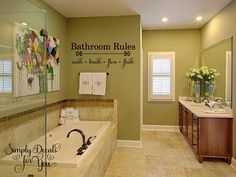 Discover custom homes from Schumacher Homes, the leading on your lot custom home builders. We build new homes designed especially to fit your needs. Bathroom Stickers, Bathroom Vinyl, Bathroom Rules, Bathroom Pictures, Custom Bathrooms, Dream Bathrooms, Custom Home Builders, Custom Homes, Green Wall Color