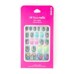 Rainbow Animal Print and Ombre Faux Nails Fake Nails For Kids, Bath And Body Works Perfume, Stick On Nails, Cool Toys For Girls, Quilling Techniques, Nail Accessories, Best Acrylic Nails, Nail Set, Prom Nails