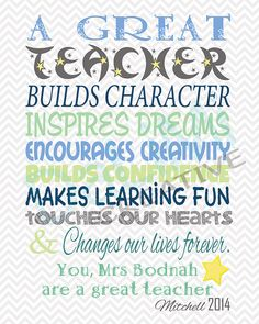 Teacher Appreciation Print - End of Year Teachers Gift - Personalised Teachers Gift - A Big Heart - Printable File - CocktailRecipes Teacher Signs, Teacher Cards, Teacher Name, Teacher Appreciation Quotes, Teacher Quotes, Teacher Humor, Appreciation Cards, Teachers Day Wishes, Happy Teachers Day