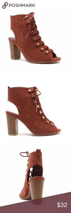 Perforated lace-up bootie Peep toe perforated bootie with lace-up vamp accented with metallic studs set atop a stacked chunky heel *brand new/never used without shoebox* fits true to size* Daytrip Shoes Ankle Boots & Booties