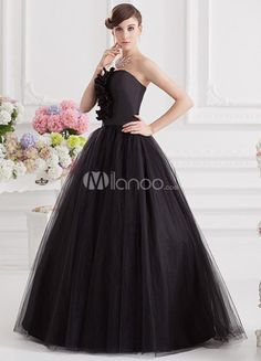 Vintage Black Floral Strapless Women's Ball Gown.  This has to be my future wedding dress