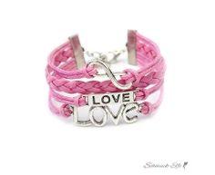 Armband LOVE & Infinity rosa  im Organza Beutel