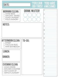 The Busy Budgeting Mama: - FREE Housework/Meal Planning Printable I like the water reminder, and could change the notes to life ad to-do to lesson planning, and the list to to-do maybe. Not so worried about keeping up with cleaning in this planner. To Do List Printable, Meal Planning Printable, Printable Planner, Free Printables, Printable Calendars, Daily Schedule Printable, Daily Schedules, Calendar Templates, Daily Routines