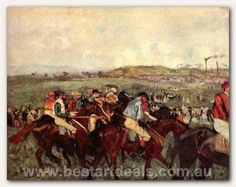 http://bestartdeals.com.au - Mens riders before the start, $359.00 (Price Before Discount). 100% Hand Painted Museum Quality Edgar Degas Oil Painting Reproduction.