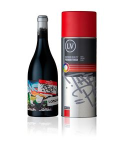 wine bottle celebrating street art comes in a custom spray paint can.